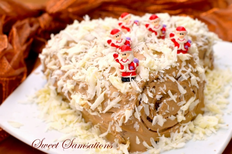 Christmas Yule log chocolate swiss roll snow