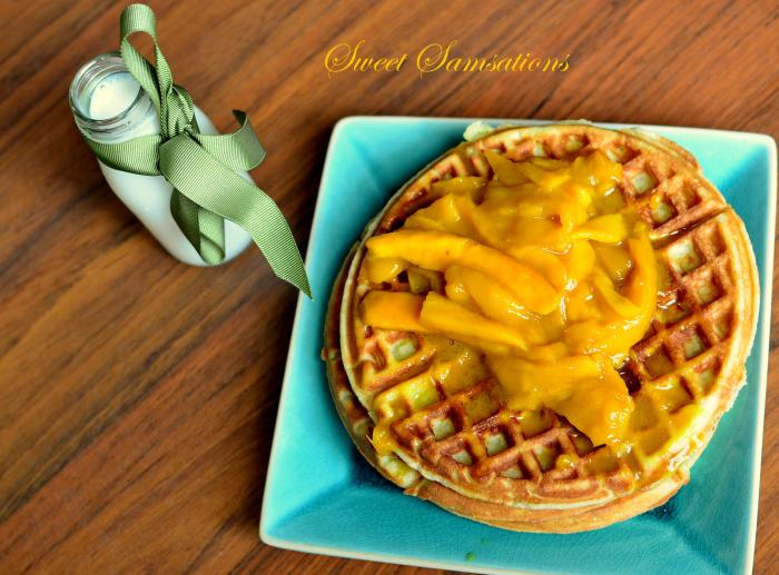 Coconut Waffles with Mango