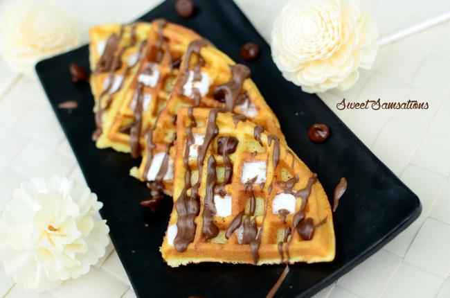 S'mores Marshmallow chocolate waffles