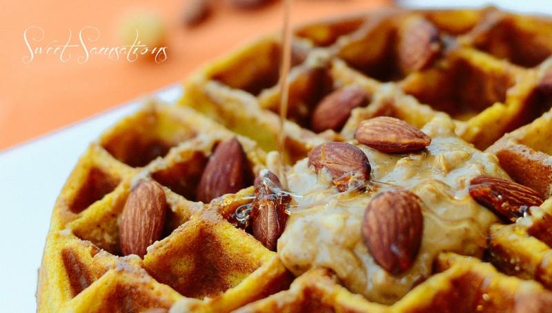 Pumpkin Waffles close up maple syrup